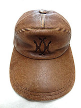 Auth Hermes France MOTSCH Motchi leather leather brown cap hat logo 57 - $524.97