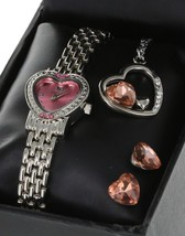 Ladies/Girls Heart Shape Love Watch Set Necklace And Earring Pink CZ Cry... - $14.19