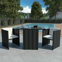 vidaXL Garden Dining Set 7 Pieces Poly Rattan Wicker Black Outdoor Furni... - $204.99