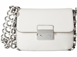 Michael Kors NWT Piper Large Flap Optic White Leather Shoulder Bag Rings X - $182.47