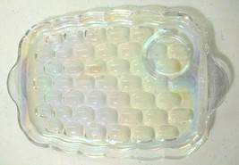 Vintage Federal Glass Yorktown Colonial Clear Snack Plate Textured Mermaid Scale - $5.89