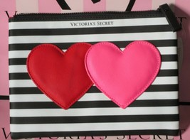 Victoria's Secret Hearts Black Striped Makeup Cosmetic Case Bag Clutch P... - $23.71