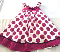 Savannah Girls Purple White Polka Dot Tie Back Dress Size 5 - $9.46