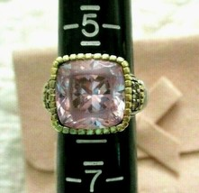 Judith Ripka 925 Silver 18K Gold Pink Crystal Diamond Ring Size 6 JR Pin... - $239.95