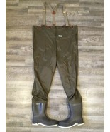 Vintage LL Bean Fly Fishing Chest Waders With Felted Boots USA Made Size... - $245.03