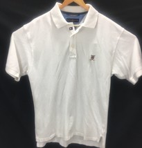 Tommy Hilfiger Mens Polo Large Golf Short Sleeve W Logo White A5 22 - $13.99