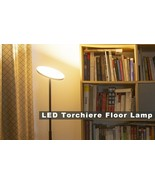 LED Torchiere Floor Lamp - Tall Standing Modern Lamp Pole Light for Black - $48.51