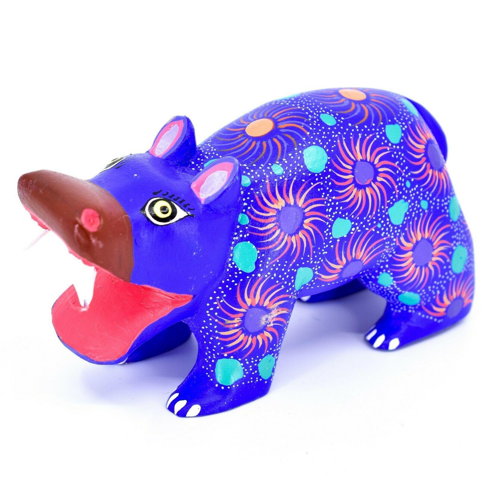 Handmade Oaxacan Copal Wood Carving Painted Folk Art Hippopotamus Hippo Figure