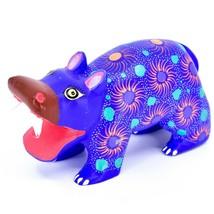 Handmade Oaxacan Copal Wood Carving Painted Folk Art Hippopotamus Hippo Figure image 1