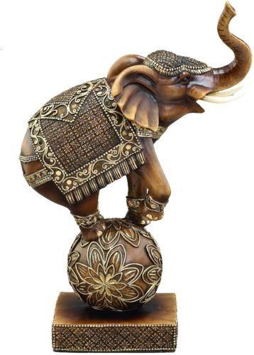 Brown Polystone Elephant On Ball