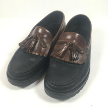 Cole Haan Country Mens 9M Two Tone Kiltie Tassel Black Brown Leather Loa... - $37.61