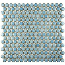 """SomerTile FKOMPR33 Penny Porcelain Mosaic Floor and Wall, 12"""" x 12.625"""", Marine"""