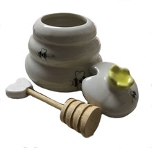 Small Honey Pot Jar Porcelain Bee Hive With Wooden Dipper - $22.76