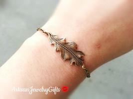 Antique Brass Oak Leaf Bracelet Leaf Charm Bracelet Bridesmaid Bracelet ... - $30.00
