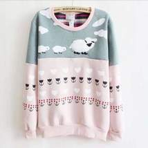 Cute Printed Cotton Sweater - $27.00