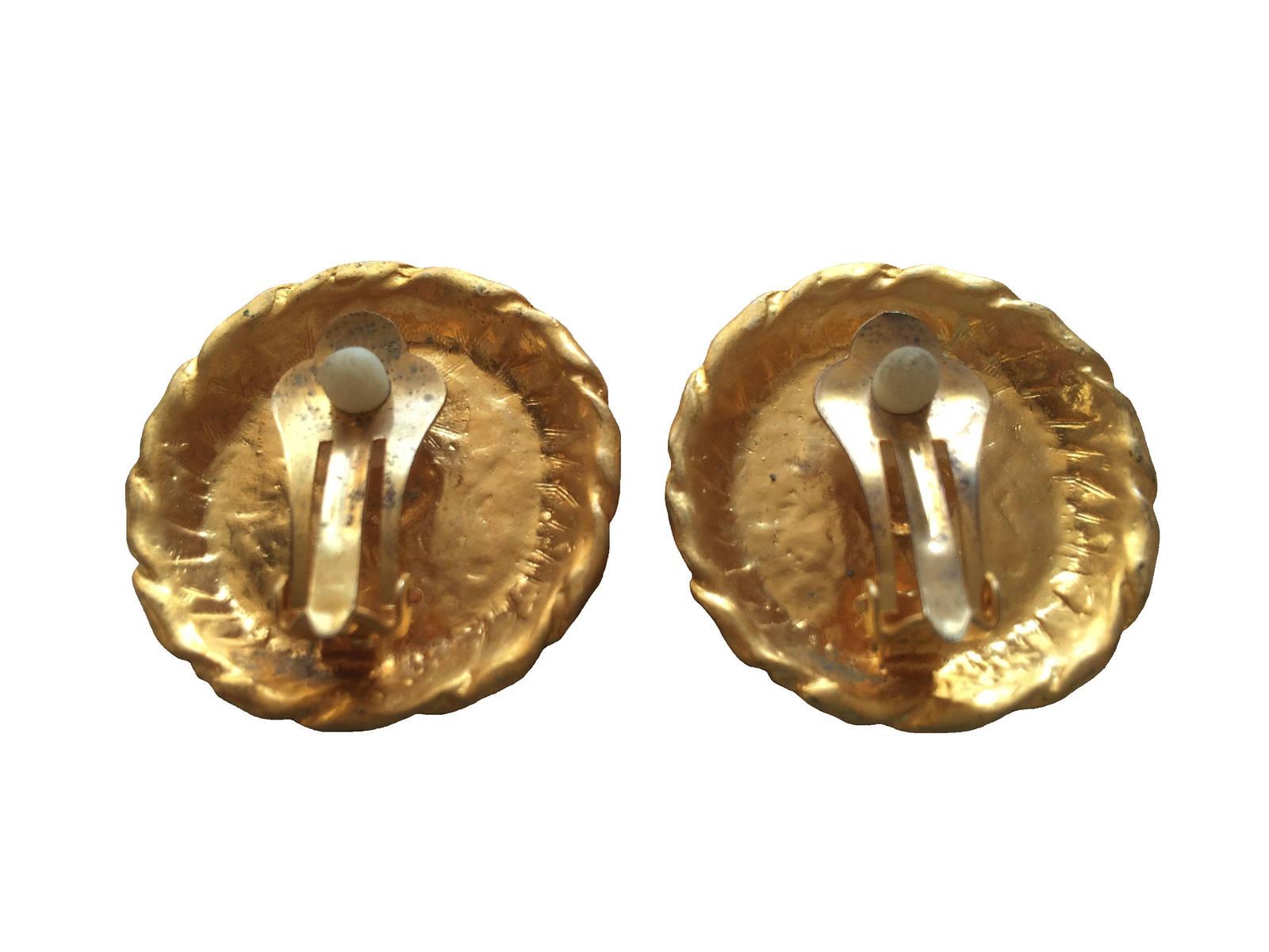 80s Vtg Round Button Gold White Enamel Anchor Rope Nautical Sailor Clip Earrings