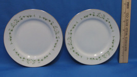 Sheffield Fine China Elegance Pattern Bread Plates White Floral Green Set of 2 - $9.89