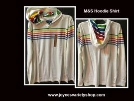M&S Light Weight Hoodie Shirt White w/Rainbow Stripes NWT Sz L - $9.99