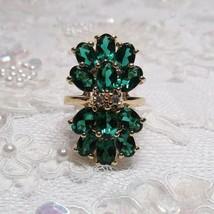 VTG   HSN Gold Technibond Sterling Silver 10 CARAT Simulated Emerald Siz... - $26.71