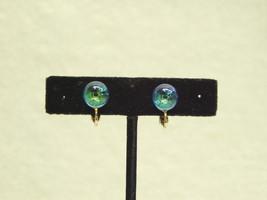 Vintage Earrings Crystal Ball Iridescent Sphere Orb blue purple green 60... - $4.75