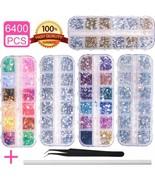 6400Pcs Nail Art Rhinestones Nail Crystal Gems Nail Diamonds, Gold Silve... - $16.82