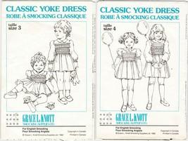 2X Grace Knott Girls Classic Yoke Dress English Smocking Pattern 3-4 - $13.99