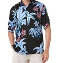 Cubavera Mens Casual Shirt Sz M Jet Black Blue Multi Floral Playa Parais... - $35.17