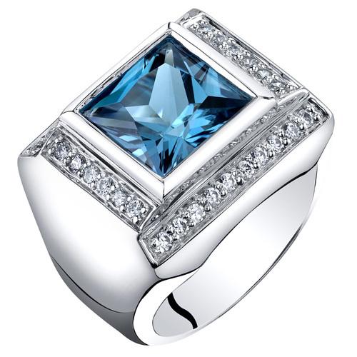 Men's Sterling Silver 5 Carat London Blue Topaz Princess Cut Ring - $180.99