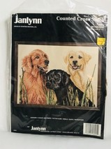 "New Janlynn Counted Cross Stitch #58-5 Retrievers 1987 16"" x 12"" Dogs - $19.59"