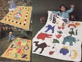 3 Crochet Child Zoo Animals ABC Letters Alphabet Happy Clown Afghan PATTERN - $6.99