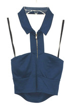 NEW B Envied Blue Cut Out Zipper Collar Sleeveless Padded Bra Cup Crop Top - $9.99