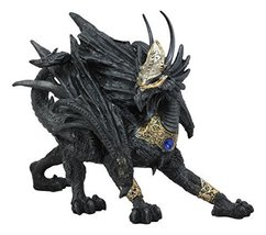 "Ebros Tharos The Blue Sapphire Golden Armored Dragon Statue 10"" Long Home Decor  - $24.94"
