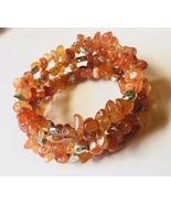 Gemstone Wire Wrap Bracelet with Pewter Beaded Accents - $10.00