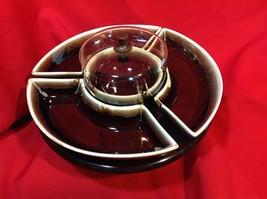 Vintage Pfaltzgraff Brown Drip Lazy Susan Chip & Dip Set w/PYREX Bowl COVER - $39.70