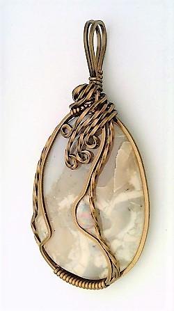 Morrisonite Jasper Opal Bronze Copper Wire Wrap Pendant 15