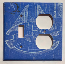 Star Wars Millennium Falcon Blueprint Switch Outlet wall Cover Plate Home Decor image 8