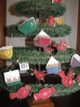 """4 Paper House Christmas Ornaments glitter 2-1/2"""" - $11.87"""