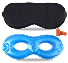 Fitglam Pure Silk Sleep Mask + Reusable Cold / Hot Therapy SPA Gel Eye M... - €11,82 EUR