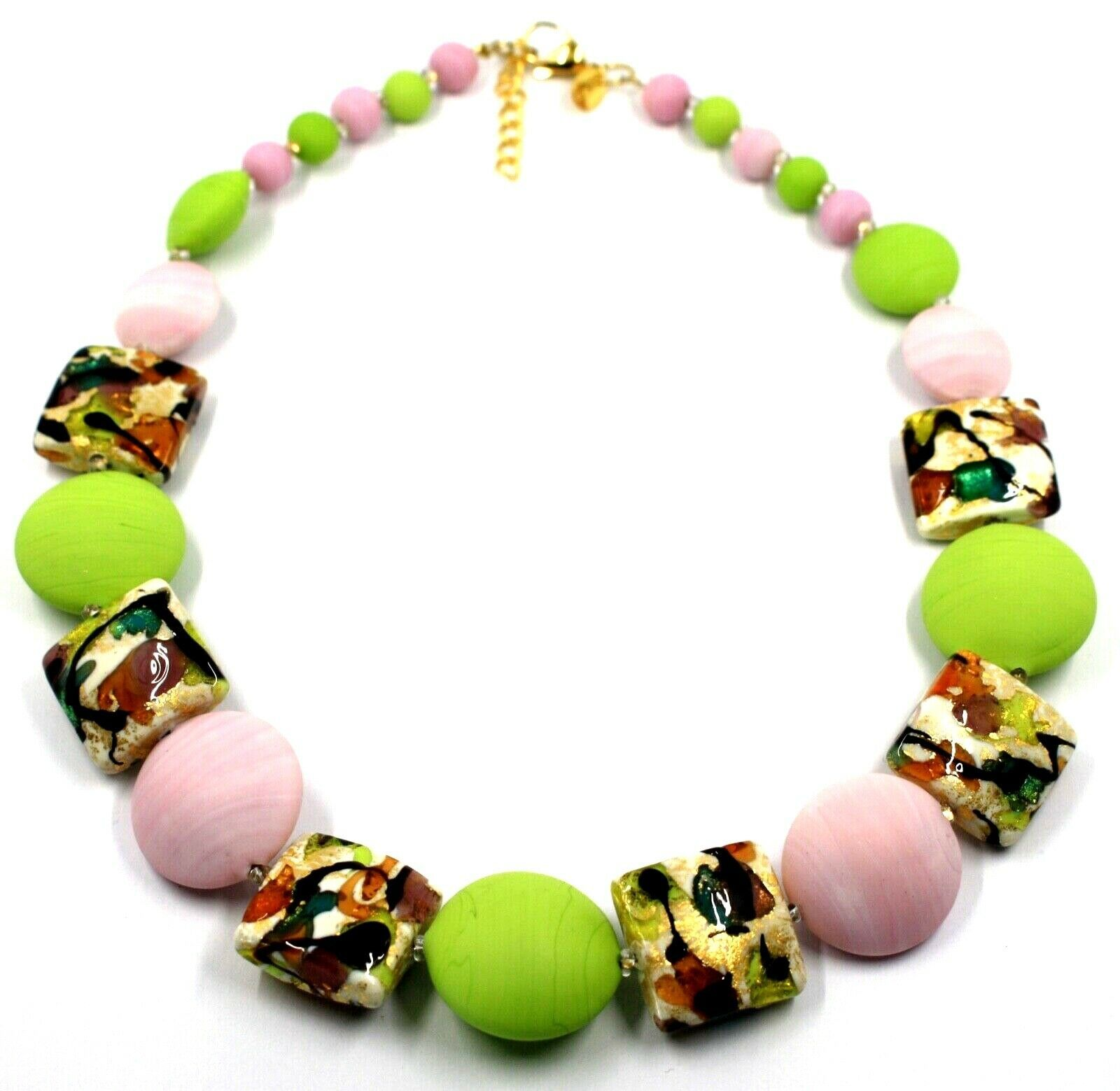 NECKLACE PINK GREEN SQUARE & DISC, MURANO GLASS, GOLD LEAF, MADE IN ITALY
