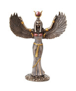 Egyptian Theme Isis Mythological Bronze Finish Figurine With Open Wings... - $39.59