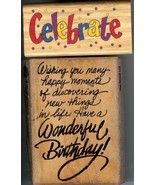Lot of 2 Rubber Stamps X-4003 & M-15 Wishing Celebrate, Birthday Wish S21 - $10.69