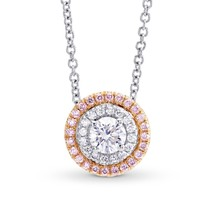 0.52Cts Colorless Diamond Halo Pendant Necklace Set in 18K White Rose Gold - £2,061.71 GBP