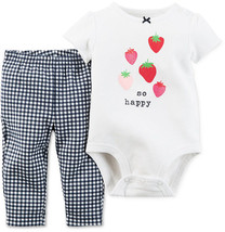 Carter's Baby Girls' Short-Sleeve Strawberry Bodysuit&Check Pants Set,Si... - $11.87