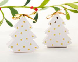 Gold Dot Christmas Tree Bridal Wedding Holiday Party Favor Treat Box Favors - $39.90+