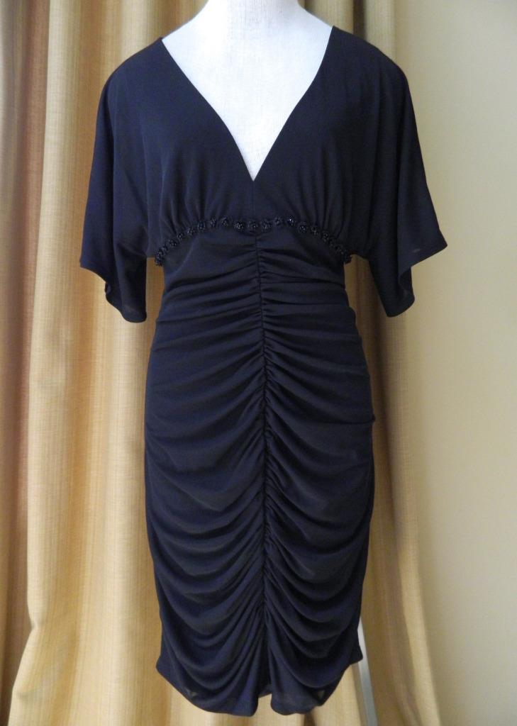 David Meister Dress Black Clingy Ruched Beading Cocktail 10 New