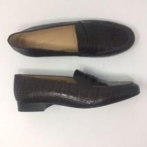 Ralph Lauren Women's Sz 9.5B Brown Croc Print Penny Loafers Casual Shoes - $85.97
