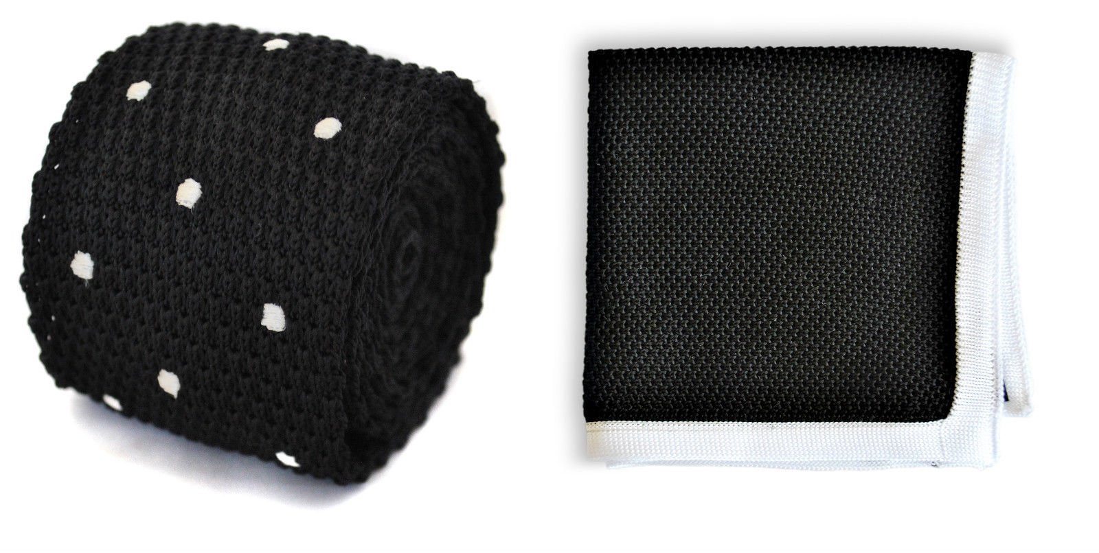 Matching knitted tie and pocket square in black by Frederick Thomas