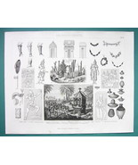 MYTHOLOGY Gods Deities Ceylon India Costume Tools - 1870s Superb Print - $16.20