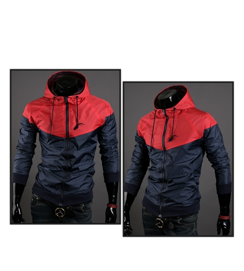 New style fashion mens hooded coats casual active Jacket Color matching men wind