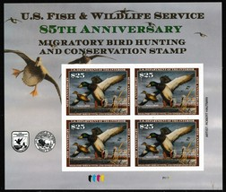 RW85 Mallards $25 Federal Duck Souvenir Sheet of Four Stamps - Stuart Katz - $150.00